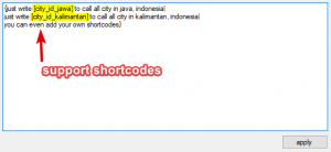 support shortcode